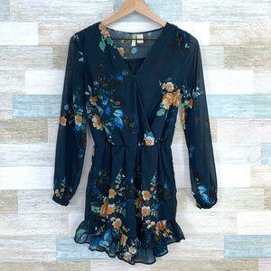 Japna Chiffon Floral Ruffle Romper Blue